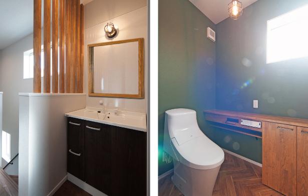 2Fの洗面台とトイレ