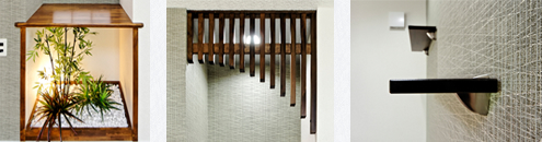 建築白石オリジナルのピーラ材とパイン材の飾り棚で趣きのある空間を演出