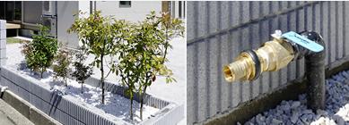 以前の植樹の紫陽花やサザンカを残し、融雪には井戸水を有効利用