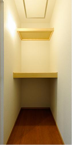 照明や棚が設けられた大容量の階段下収納。