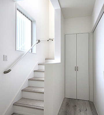 真っ白な階段と階段下収納