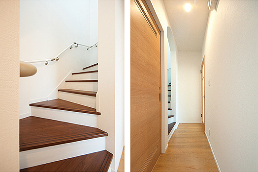 アーチの階段と廊下