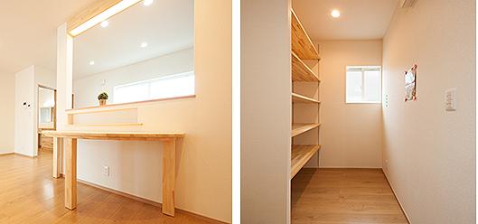 キッチン収納とダイニングスペース