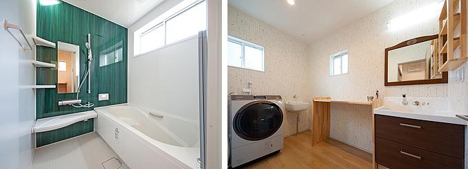 爽やかなグリーンのパネルの浴室と洗面脱衣室