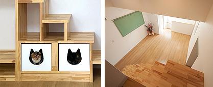 猫ちぐらにもなる収納BOXとロフト階段