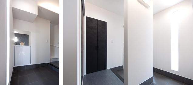玄関収納 大理石の床